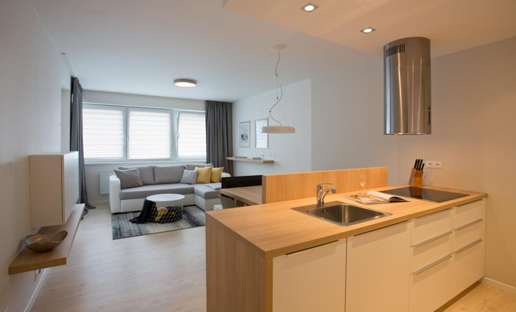 Designový byt k pronájmu - byt 2+kk, pohled na obytný prostor s kuchyní